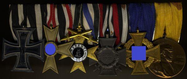 6er Ordensschnalle eines langjährigen preußischen Beamten mit BayMVK1 am Bande für Kriegsverdienst