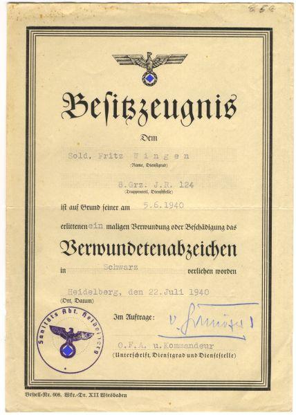 Urkundengruppe des Gefreiten Fritz Wingen / (Grenz-)Infanterie-Regiment 124