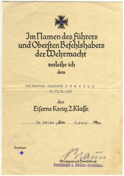 Urkundengruppe des Oberleutnants Gerhard Nowotny / Infanterie-Regiment 196