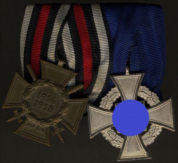 2er Ordensschnalle eines Weltkriegs-Frontkämpfers & Staatsbediensteten